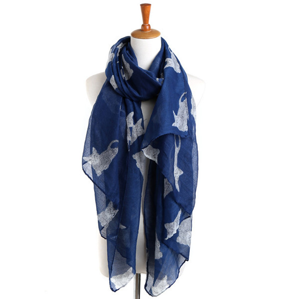 Sweet girl female animal cat pattern shawl women voile scarf 180*90cm(China (Mainland))
