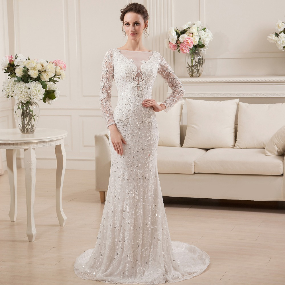 Vestidos de novia bateau appliques lace long sleeve for Cheap lace wedding dresses with sleeves