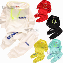 retail 7-24M 2015 newborn infant baby boys autumn spring brand 2pcs clothing set kids tracksuit baby hooded shirt+pants sets(China (Mainland))