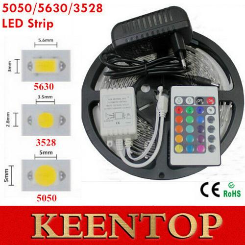 5M RGB Led Strip Light Kit SMD 3528 5050 5630 60led/m Flexible Light Led Tape+24Keys Remote Controller+12V 2A EU/US Power Supply()