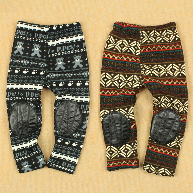 Winter boot cut jeans legging female child knitted cotton plus velvet thickening pants openable-crotch trousers