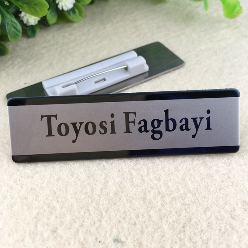 5pcs custom 70X20mm name tag magnet badge laser tag stainless steel plate personalized name tag(China (Mainland))