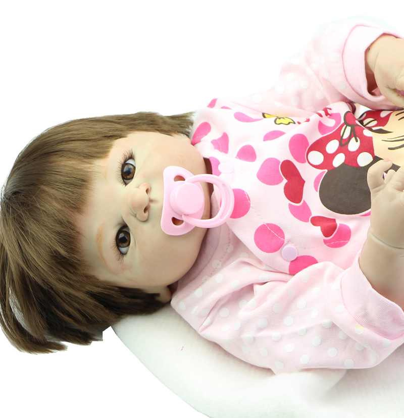 23 Inch Full Silicone Vinyl Reborn Baby Girl Dolls Lifelike Reborn Babies Realistic Baby Doll Toy Lifesize Doll Baby Alive
