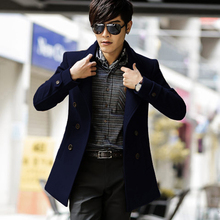 outerwear 2015 winter wool coat medium-long male woolen slim fashion trench long sleeve wool coat(China (Mainland))