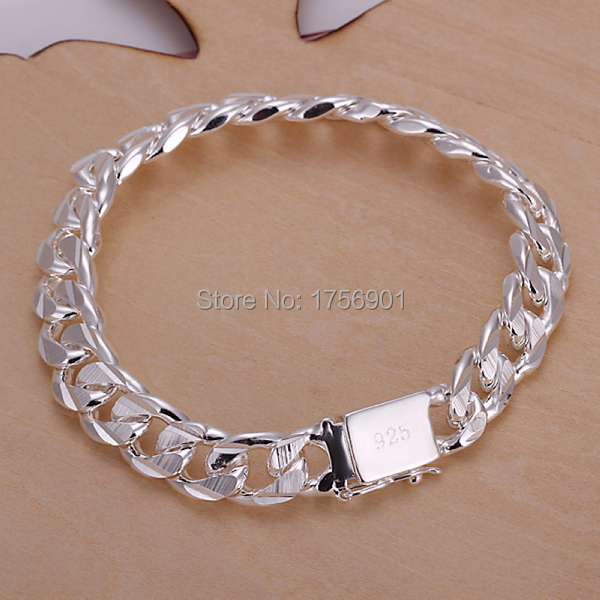 Top quality hot fashion 925 sterling silver solid 10MM Men Men's Male chain link Bracelet Bangle party boy friend gift box KL-32(China (Mainland))