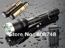 1set Tactical 1300 Lumen CREE XM-L T6 LED 18650 Flashlight Torch Lamp Light +2*18650 4000MAH Battery+Charger(China (Mainland))
