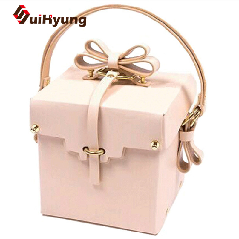 2016 New Cute Nude Pink Women Totes Bag PU Leather Handbag With Bow Creative Design Gift Box Flap Hand Bag Party Evening Bag(China (Mainland))