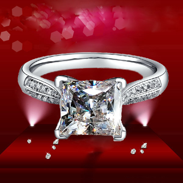 Aliexpress Buy 2ct Luxury Ring Princess Cut Star Simulate Diamond Engag