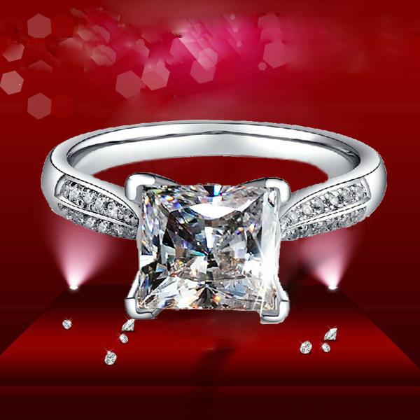 Aliexpress Buy 2ct Luxury Ring Princess Cut Star Simulate Diamond Engag