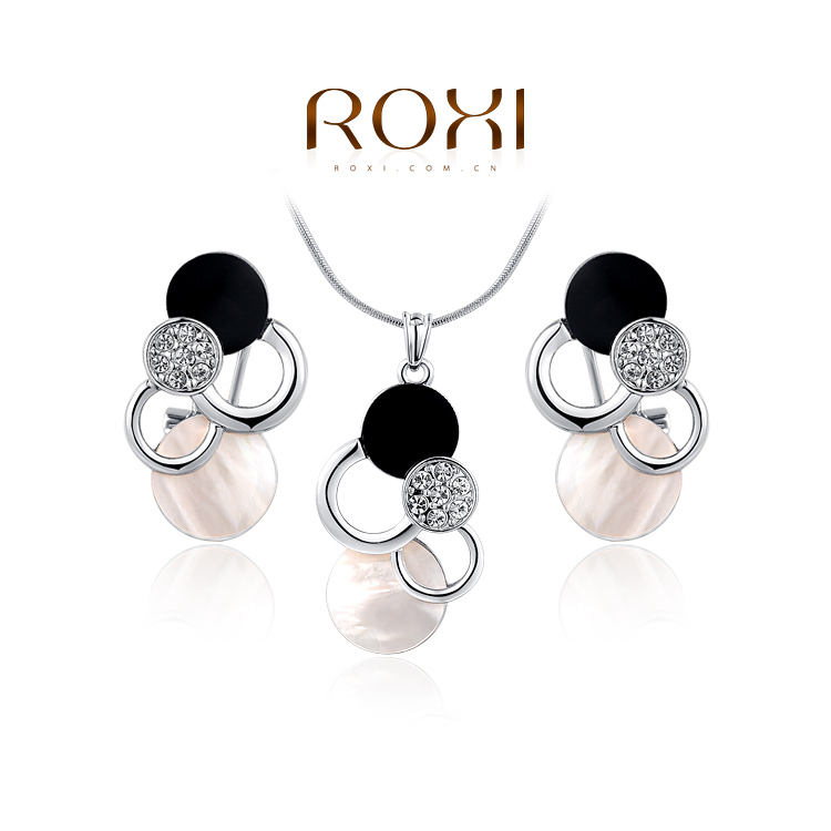 2014 ROXI new fashion personality opal jewelry set crystal earrings necklace women rose gold white plated - international trading LTD ( and retail store)