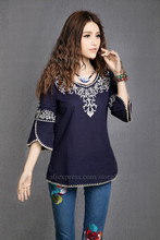 Vintage 70s Mexican Ethnic Floral embroidery HOBO t shirt women clothing t-shirt women tops Blusas femininas 2015 t shirts(China (Mainland))