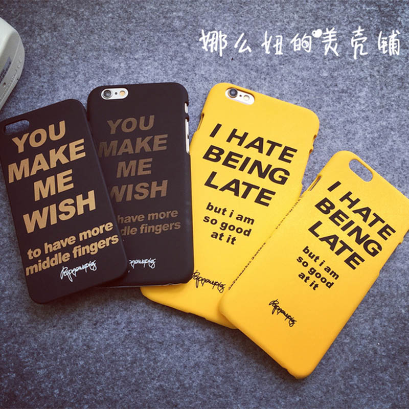 Popular case Funny Word letter phone case for iphone 6 6s 6plus 5s phone cover Plastic Phone Cover Printing shell(China (Mainland))
