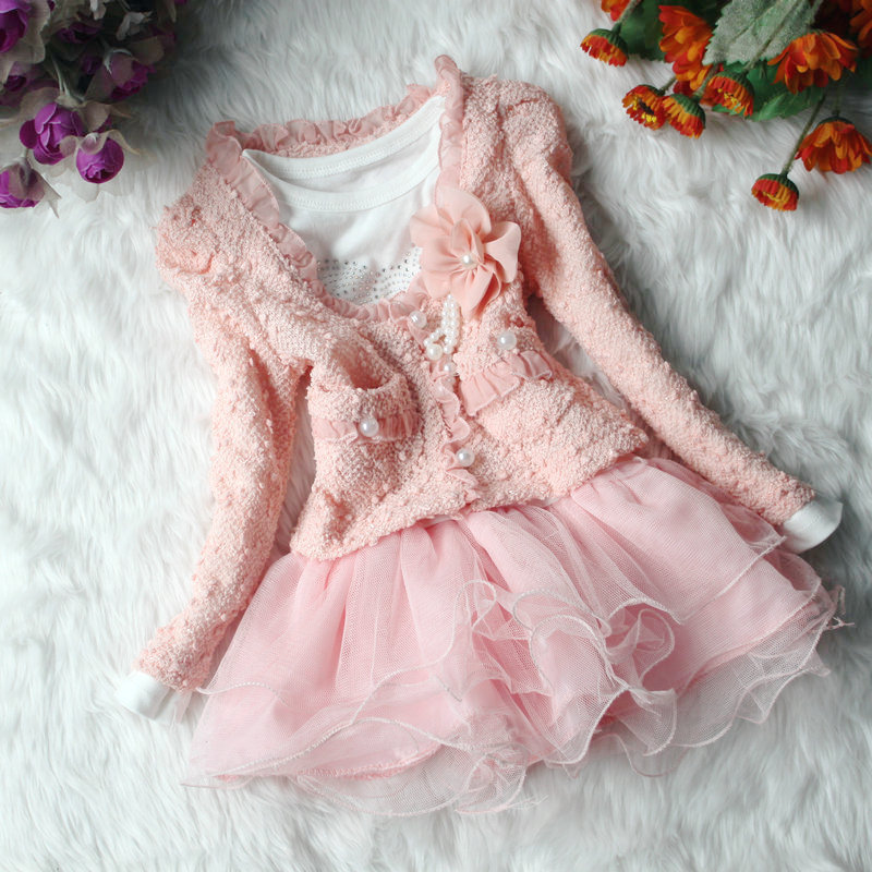 Autumn winter thunder silk long sleeve girls children suit flower princess dresses beige pink party two piece - Baby love beautiful store