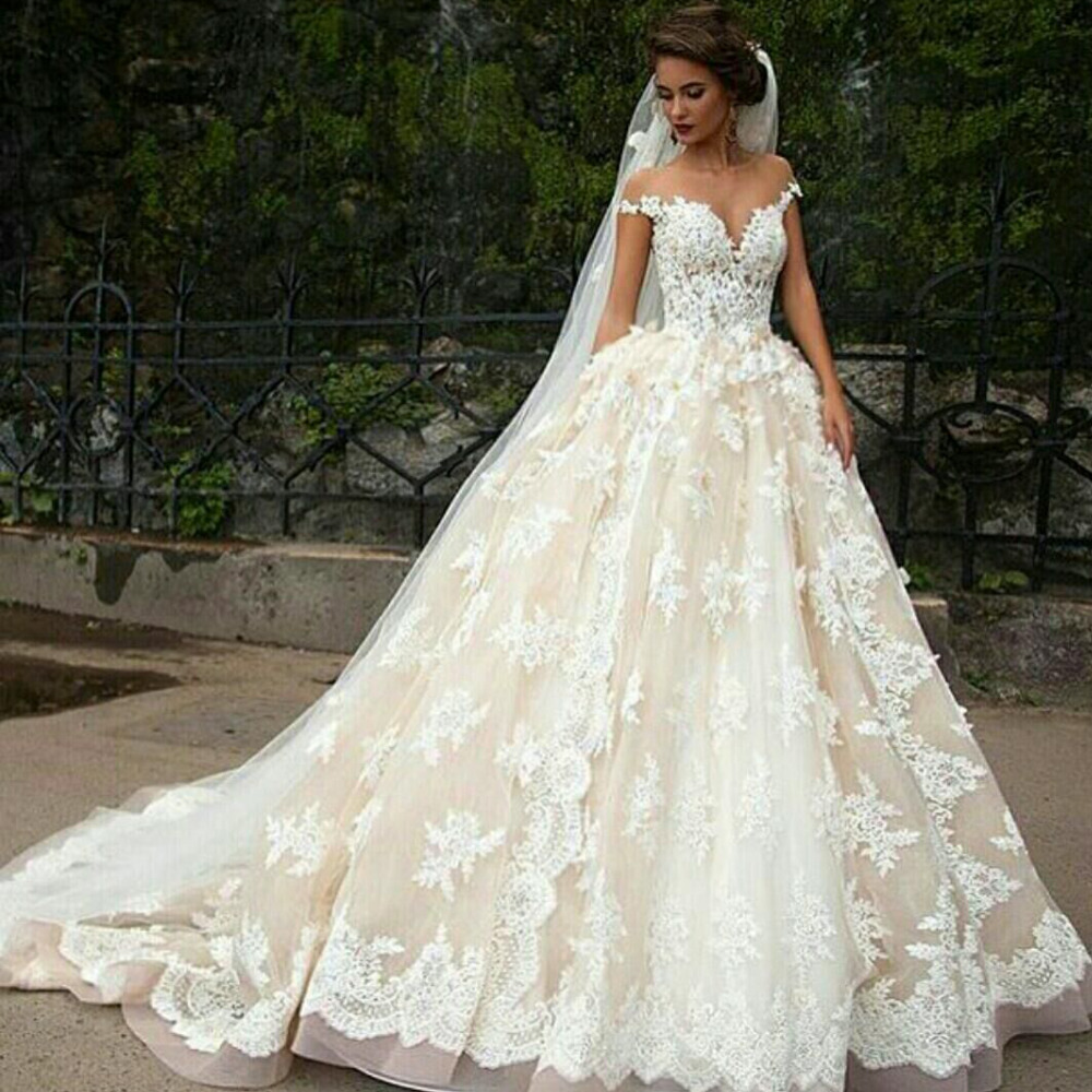 appliques sweetheart ball gown wedding dresses cap sleeve bridal gowns