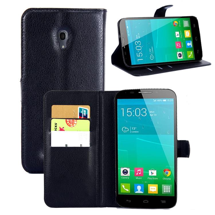 flip wallet case Alcatel One Touch Pop S9 OT 7050 7050Y 7050K litchi texture leather cover - Shen Zhen Longhua Electronic Co., Ltd store