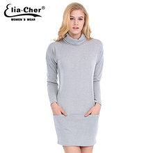 Jersey de cuello alto tejer vestido de invierno 2015 causal tallas grandes ropa chic elegant activo gris bolsillos deporte vestidos