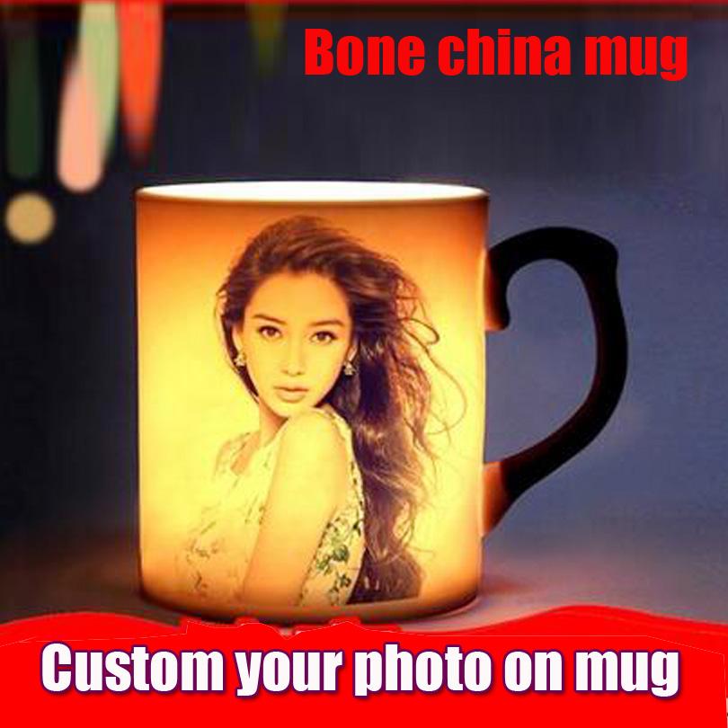 Drop shipping DIY Photo Magic Color Changing Coffee Mug custom your photo on Tea cup Black Bone china mugs 11OZ(China (Mainland))