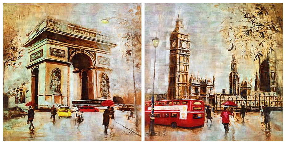 free shipping Europe and America clock tower red bus stree landscape oil painting printed on canvas wall art decoration picture(China (Mainland))
