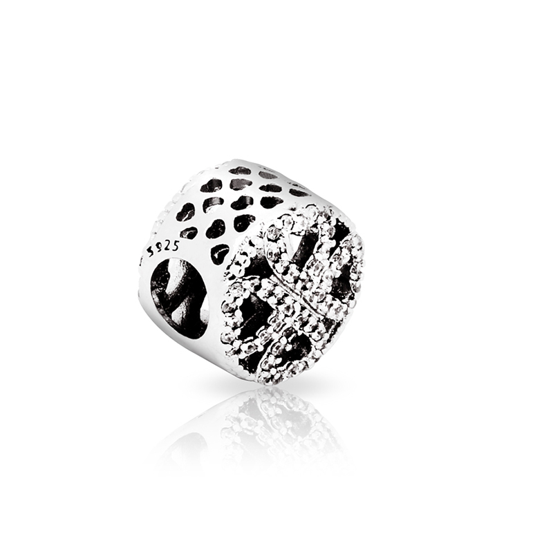Free Shipping 925 Sterling Silver Bead Charm Fashion Full Love Heart Crystal Beads Fit DIY Pandora Bracelets & Bangles YBD211(China (Mainland))