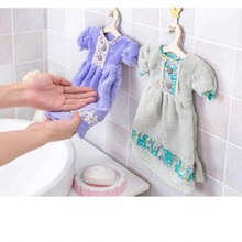 1 Piece Cute Dress Shape Flowers Patterns Microfiber Towel Girl Women's Favorite Hand Towel Bathroom Towel(China (Mainland))