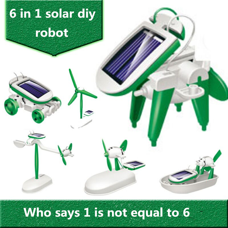 freeshipping Solar kit Energy robot Dancing Toy Cute Small 6 1 solar diy toys power - Shenzhen Qinmay Technology Co., Ltd. store