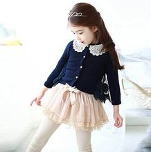 2015 spring korean style children's clothing girls cotton lace cardigan embroidery spliced kid's clothes(China (Mainland))