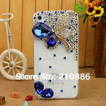 Free shipping  bling Rhinestone Crystal mobile phone Case Covers for iphone4/4s,protect phone case,crystal butterfly ,4colour