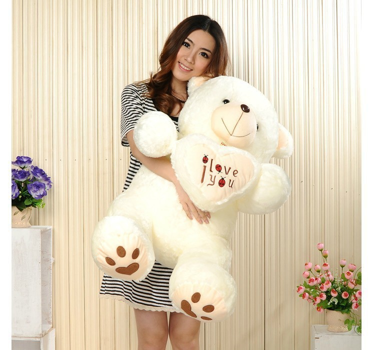 90 cm Lovely HugeTeddy Bear Giant Big Toys Stuffed Plush Animals Hold The Heart Bear I love You Doll Valentine Gift for girl(China (Mainland))