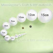 3 - 200 pcs 1.5 cm / 2 / 3 / 4 / 5 / 6 / 7 / 8 / 9 / 10 / 12 / 15 / 20 cm blanc balles en mousse de polystyrène styromousse boules de styromousse artisanat décoration mousse balles(China (Mainland))