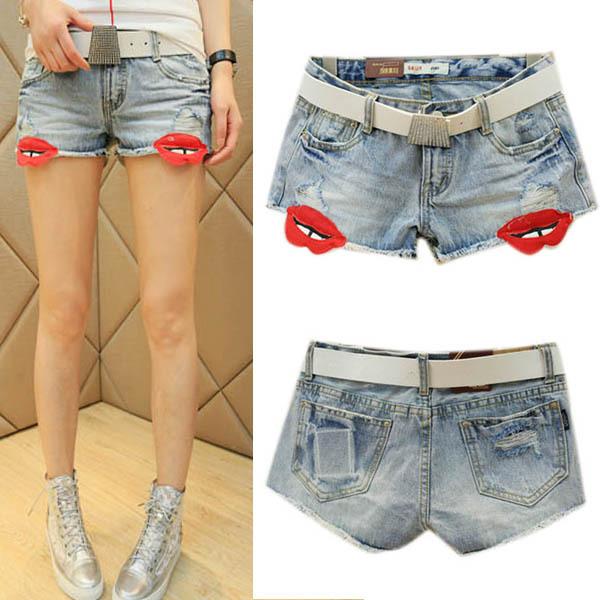 CYSummer Women's Fashion Low Waist Cute Ripped Denim Jeans Shorts Big Lips Free shipping(China (Mainland))