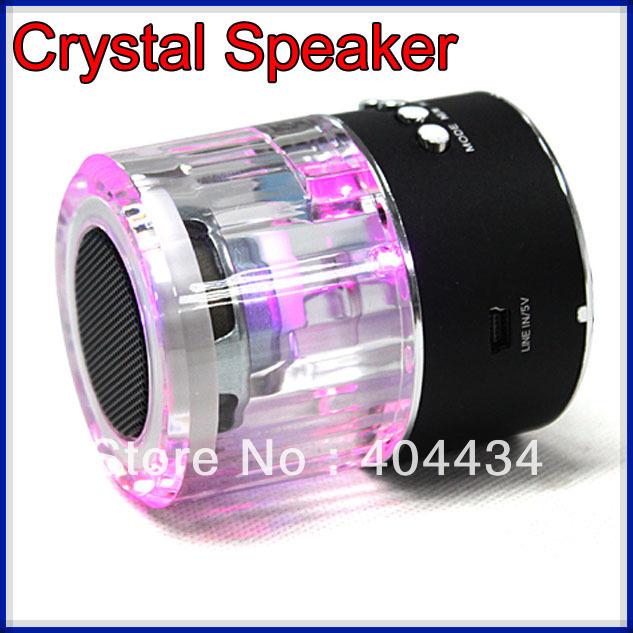 Transparent Crystal Mini Speaker sound box, cylinder portable Mp3 Music speaker circle design + usb flash drive +fm 30pcs(China (Mainland))
