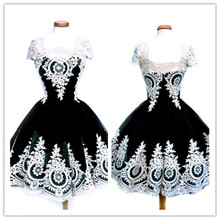Top Sale Black Gothic Vintage Lace Embroidery Club Dresses(China)