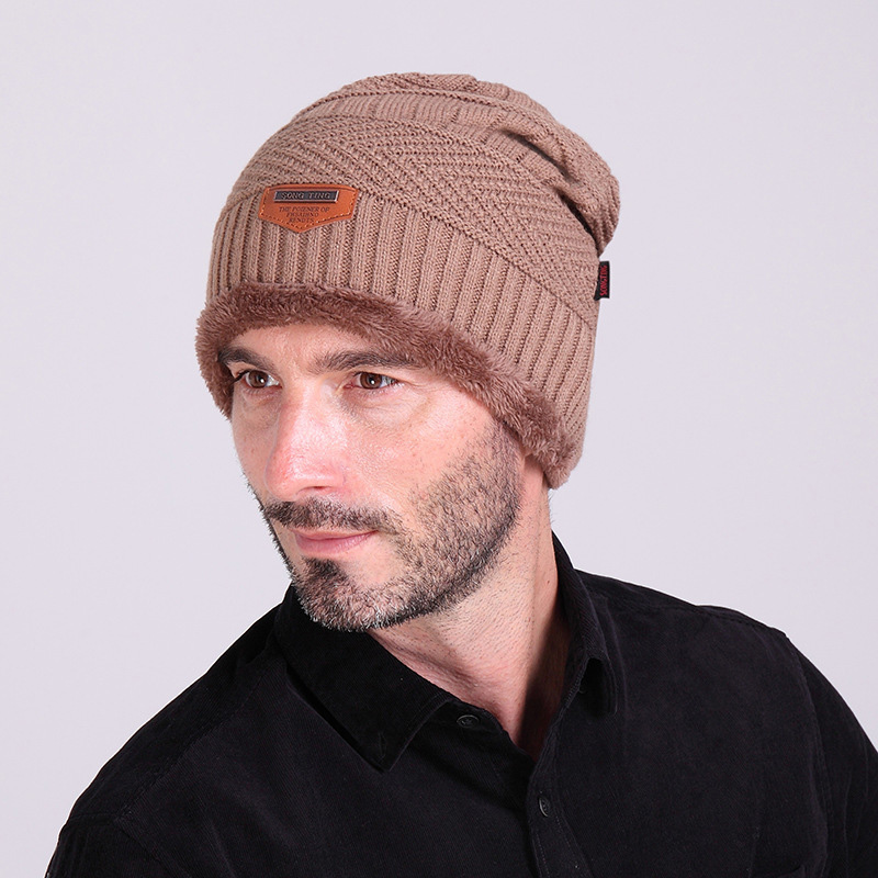 New Year Winter Beanies Hats for Men Warm Knit Ski Cap With Velvet Inside 6 Colors Available Z-1325()