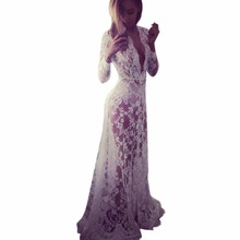 Fashion Women Asymmetrical Patchwork Dress Hollow Out Long Sleeve V Neck Lace Maxi Dresses(China (Mainland))