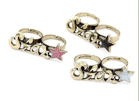 Factory Outlet Price Lot 120 Pcs Vogue Retro Letter star two/double finger Rings(China (Mainland))