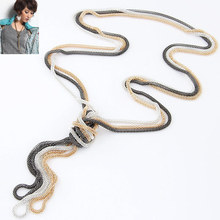 7 Colors New Fashion Bohemian Style Punk Collar Retro Vintage Metal Braid Twist Chain Long Necklaces