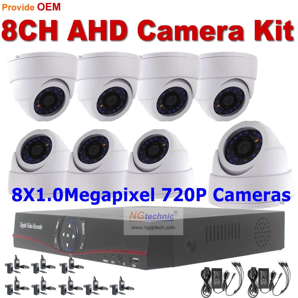 1.0Megapixel AHD DVR CCTV Security sytem 8pcs Dome 720P Surveillance camera + 8ch remote view P2P AHD DVR support iphone Android<br><br>Aliexpress