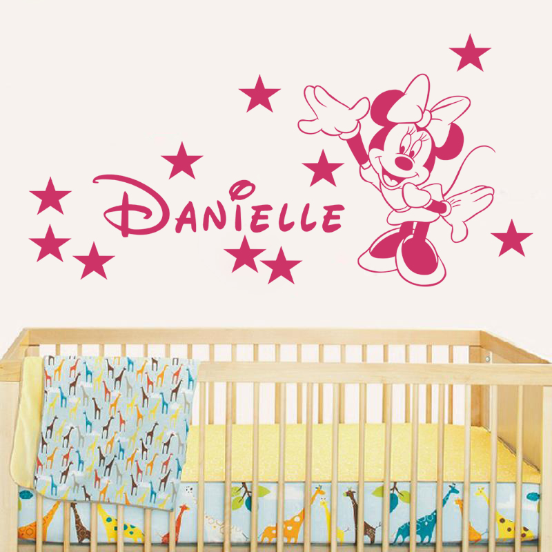 JJRUI Wall Stickers custom Minnie Mouse Personalize Custom Name Kid Nursery Wall Saying Vinyl Sticker Decal(China (Mainland))