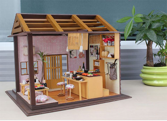 Japanese Restaurant Sushi Miniatura Sunshine DIY Pink Doll Wood House Furniture Handmade DIY060 3D Miniature Dollhouse Toys Gits(China (Mainland))