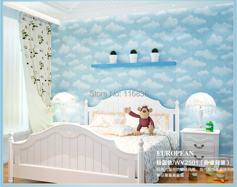 child non woven wallpaper blue sky boys bedroom pink sky