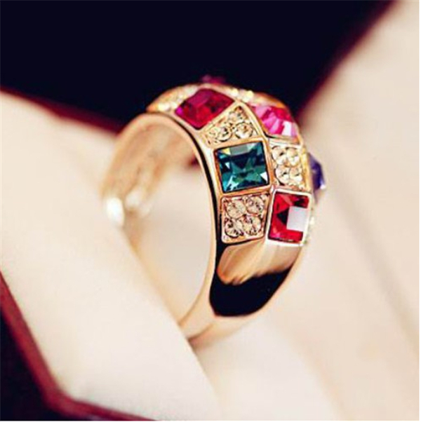 Austrian Crystal Jewelry Chic Rings Women Party /Wedding Silver/Gold Plated Colors Round 2015 New Arrivel RS002 - sanson feng's store