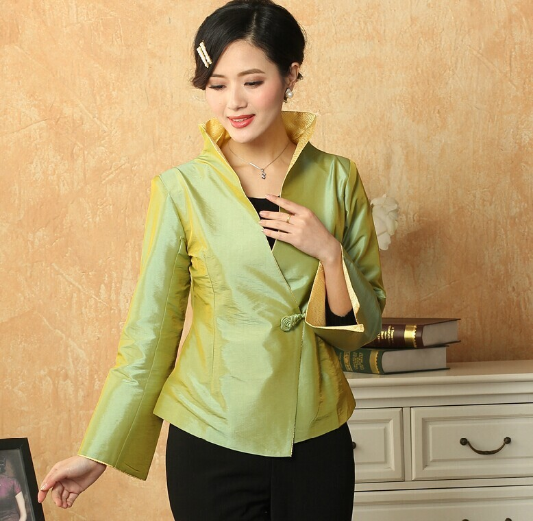High Quality Green Lady Silk Satin Coat Fashion Solid Color V-Neck Jacket Single Button Flare Sleeve Costume Size S To XXXLNJ114Одежда и ак�е��уары<br><br><br>Aliexpress