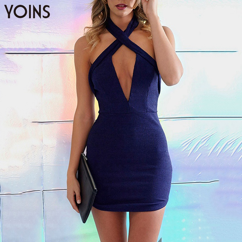 YOINS New 2016 Women Sexy Plunge Halter Neck Crossed Front Backless Mini Party Dress Fashion Zip Back Bodycon Dress Clubwear(China (Mainland))