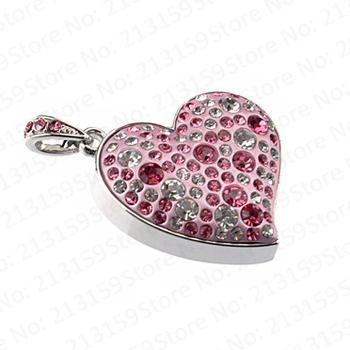 Jewelry pink Sweet Love Heart USB Flash Drives thumb pen drive memory stick disk 2GB 4GB 8GB 16GB 32GB Free DHL/EMS (10pcs/lot)