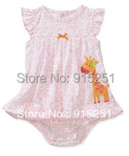 New arrival  cotton lovely pink giraffa  baby girl  dress romper baby jumpsuit carter baby girl sunsuit<br><br>Aliexpress