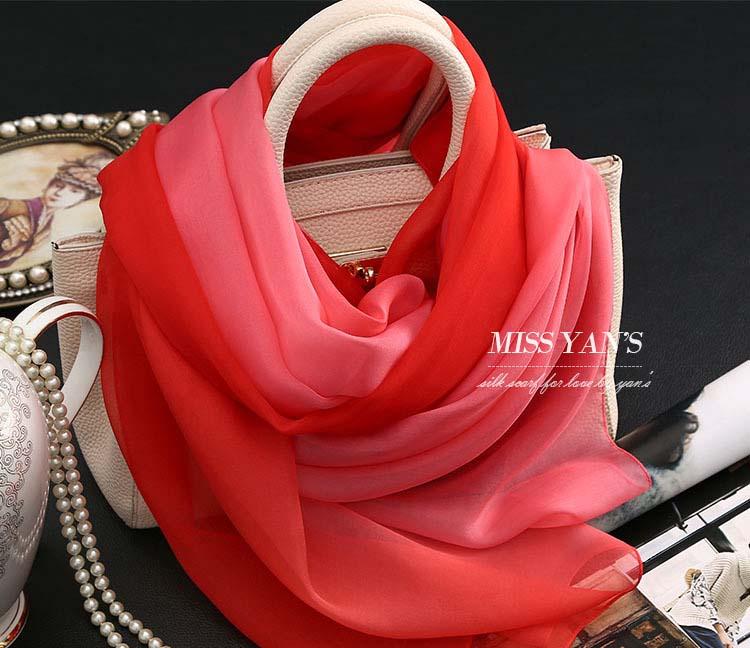 Red Pink Color Gradient Scarf Brand Names Women 100% Pure Silk Headband Magic muslim underscarf Fashion Summer Scarf Silk Shawl(China (Mainland))