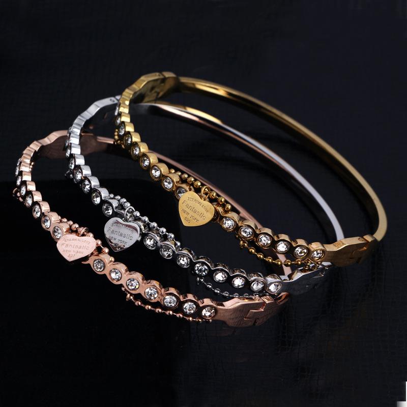 2016 Fashion Brand Stainless Steel Love Heart Crystal Fantastic Carter bangle Bracelet Women Gift <br><br>Aliexpress