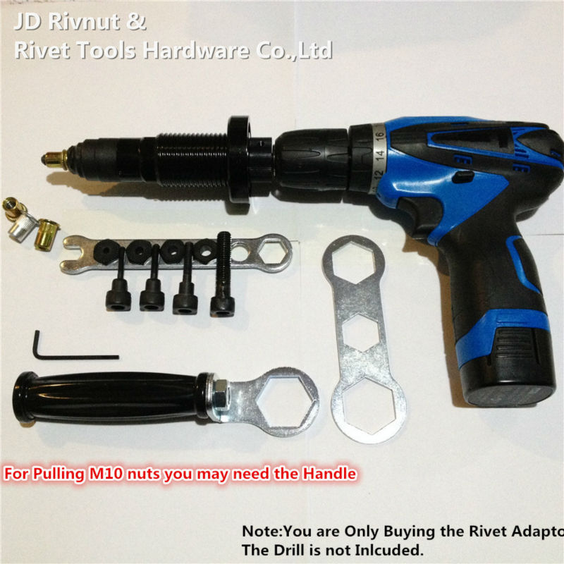 M4 M10 Electric Rivet Nut tool Battery nut Riveter Adapter Insert Nut Cordless Drill Adaptor Rivet