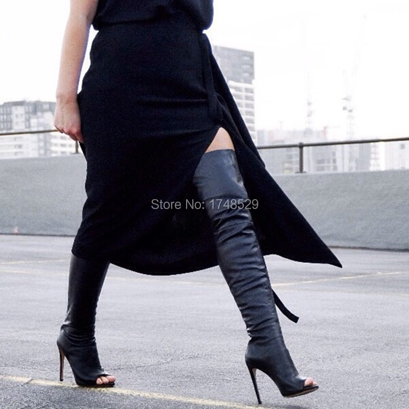 Leather Peep Toe Thigh High Boots - Cr Boot