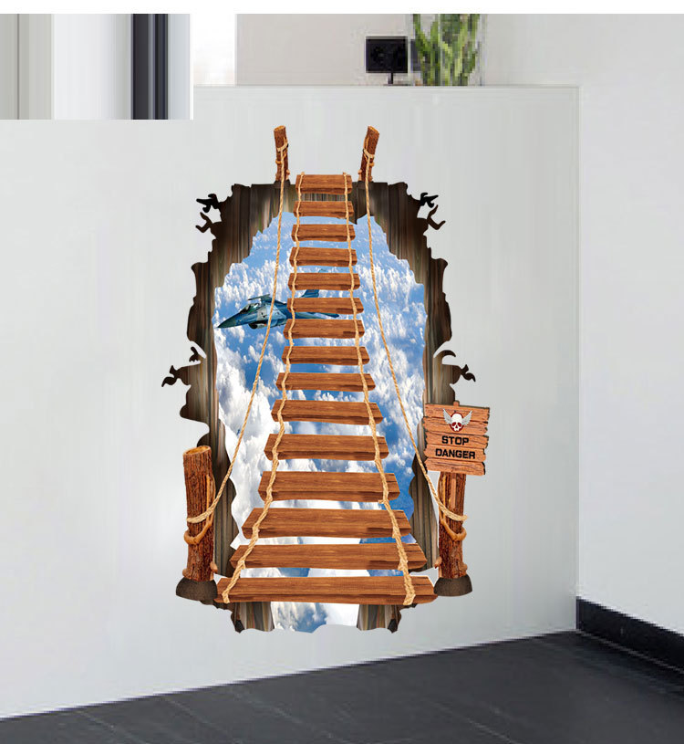 Hot style wall 3 d stair fashion creative personality wall stickers Ladder sky plane(China (Mainland))